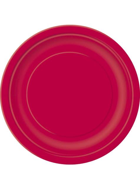 20 assiettes à dessert rouges - Gamme couleur unie