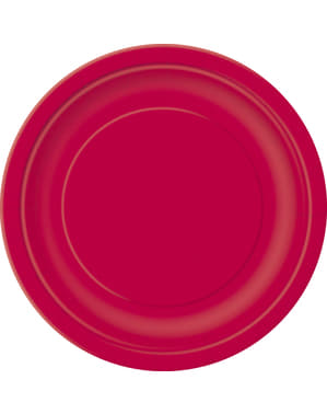 20 czerwone talerze deserowe - Linia kolorów podstawowych