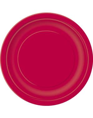 20 pratos de sobremesa vermelho (18 cm) - Linha Cores Básicas