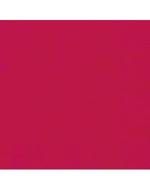 50 grandes Serviettes en papier rouges - Gamme couleur unie