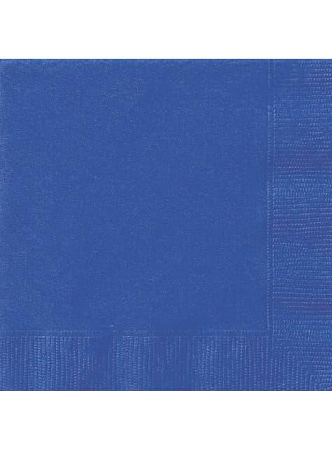 20 grandes serviettes bleues foncé - Gamme couleur unie