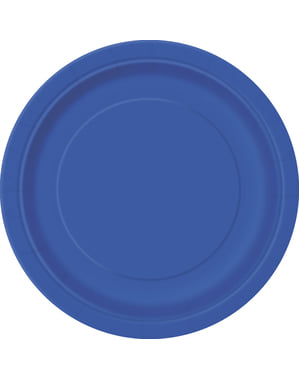 8 assiettes à dessert bleues foncé - Gamme couleur unie