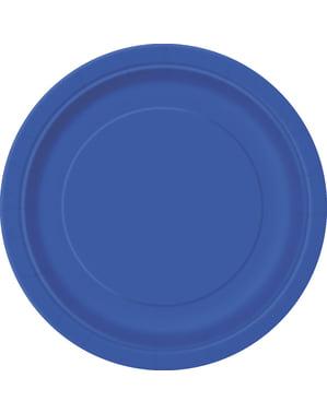 8 donkerblauwe dessert borde (18 cm) - Basis Kleuren Lijn
