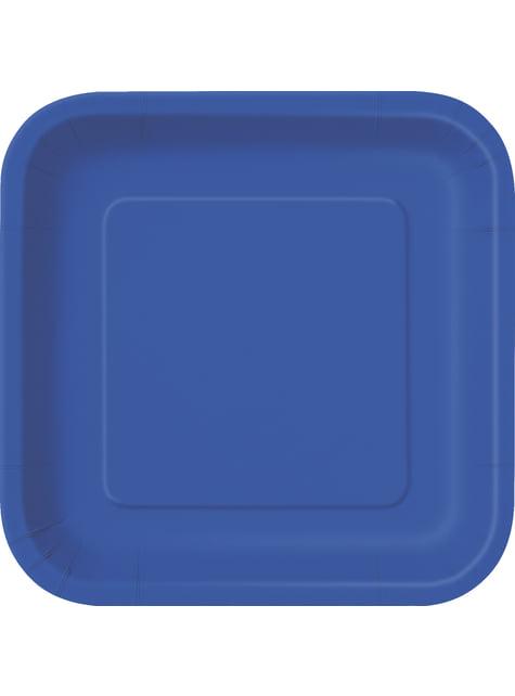 14 assiettes carrées bleu foncé - Gamme couleur unie