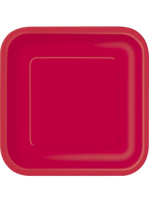 14 platos cuadrados rojos (23 cm) - Línea Colores Básicos