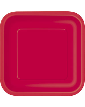 Set of 14 store røde firkantede tallerkner - Basale farver linje