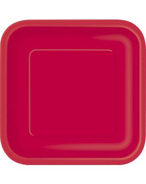Sett med 14 store rød firkantede tallerkener - Grunnleggende Farger Kolleksjon