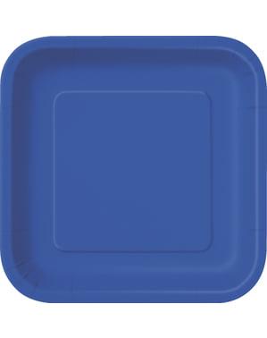 16 assiettes carrées à dessert bleu foncé - Gamme couleur unie