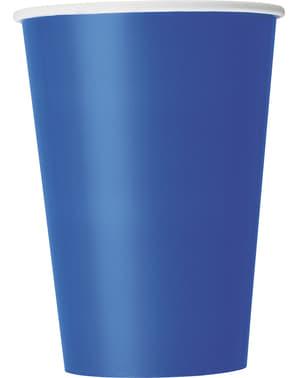 Zestaw 10 dużych ciemnoniebieskich kubków - Linia kolorów podstawowych