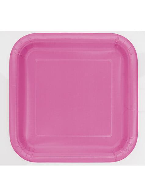 16 assiettes carrées à dessert roses - Gamme couleur unie