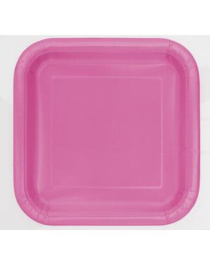 16 różowe kwadratowe talerze deserowe - Linia kolorów podstawowych