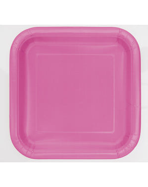 16 pratos quadrados de sobremesa cor-de-ros (18 cm) - Linha Cores Básicas