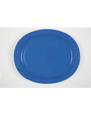 8 dark blue oval trays - Basic Colours Line