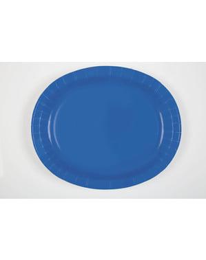 8 donkerblauwe ovale dienbladen - Basis Kleuren Lijn