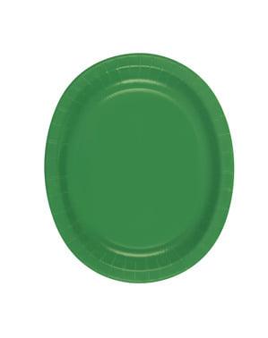 Zestaw 8 szmaragdowo-zielonych owalnych tacek - Linia kolorów podstawowych