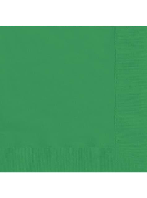 20 grandes serviettes vertes esmeralda - Gamme couleur unie