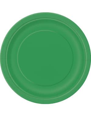 8 smaragd groene dessertborde (18 cm) - Basis Kleuren Lijn