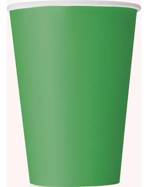 Zestaw 10 dużych szmaragdowo-zielonych kubków - Linia kolorów podstawowych