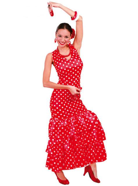 Punainen Sevillalainen Flamenco-asu