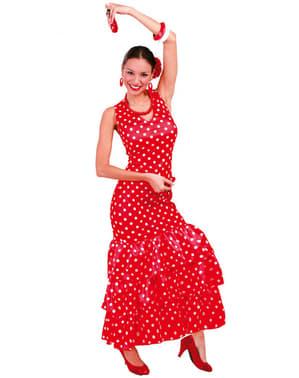 Sevilla Rødt Flamencokostyme