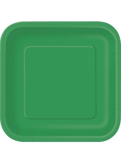 16 platos cuadrados pequeños verde esmeralda (18 cm) - Línea Colores Básicos