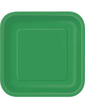 16 vierkante smaragd groene dessertborde (18 cm) - Basis Kleuren Lijn