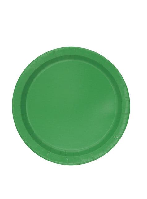 20 platos pequeños verde esmeralda (18 cm) - Línea Colores Básicos