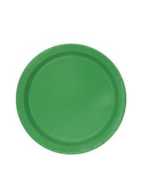 20 pratos de sobremesa verde esmerald (18 cm) - Linha Cores Básicas