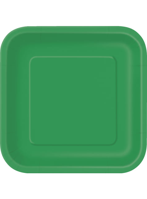 14 platos cuadrados verde esmeralda (23 cm) - Línea Colores Básicos
