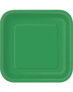 Zestaw 14 szmaragdowo-zielonych kwadratowych talerzy - Linia kolorów podstawowych