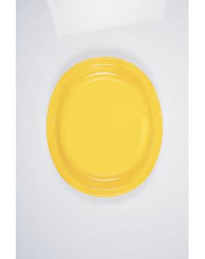 8 plateaux ovales jaunes - Gamme couleur unie