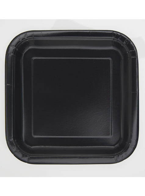 16 platos cuadrados pequeños negros (18 cm) - Línea Colores Básicos