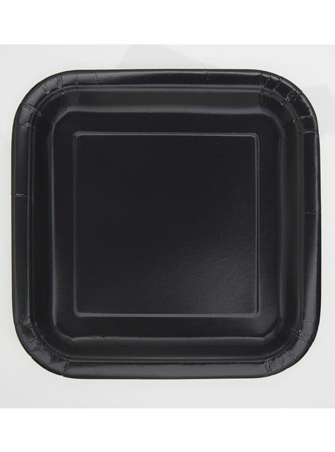 16 pratos quadrados de sobremesa preto (18 cm) - Linha Cores Básicas