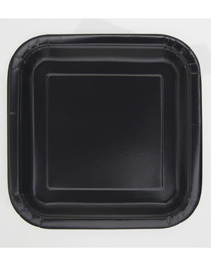 16 square black dessert plate (18 cm) - Basic Line Colours