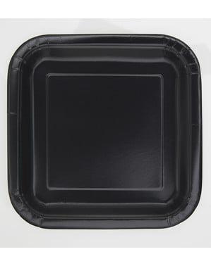 Sett med 16 firkantete svart dessert tallerkener - Basic Line Colours