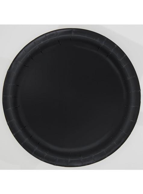 20 assiettes à dessert noires - Gamme couleur unie