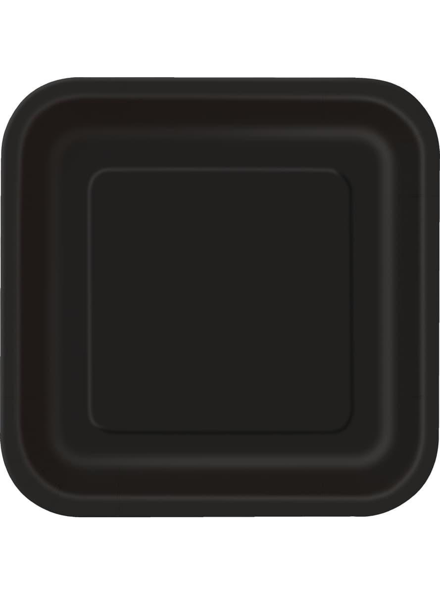 viereckige teller set schwarz 14 teilig basic farben kollektion f r partys und geburtstage. Black Bedroom Furniture Sets. Home Design Ideas