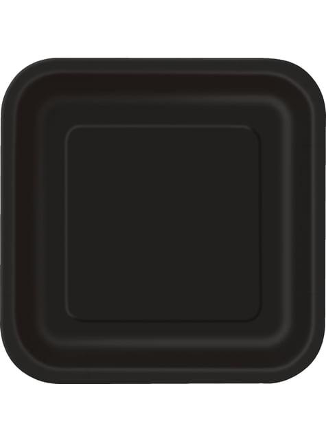 14 assiettes carrées noirs - Gamme couleur unie