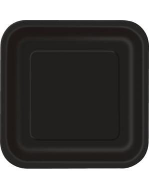 14 pratos quadrados preto (23 cm) - Linha Cores Básicas