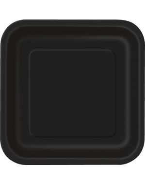 Zestaw 14 czarnych kwadratowych talerzy - Linia kolorów podstawowych