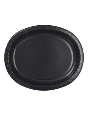 8 kpl mustaa soikeaa tarjotinta - Perusvärilinja