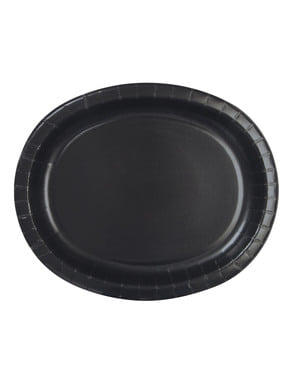 Ovale Teller Set schwarz 8-teilig - Basic-Farben Kollektion