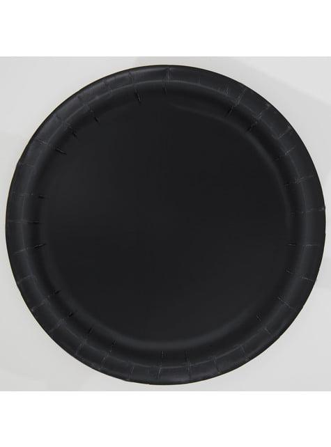 16 assiettes noires - Gamme couleur unie