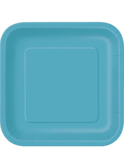 16 assiettes carrées à dessert couleur Aigue-marine - Gamme couleur unie