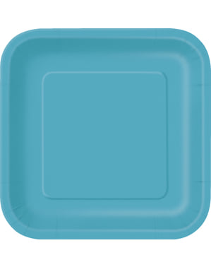 16 pratos quadrados de sobremesa cor água-marinh (18 cm) - Linha Cores Básicas