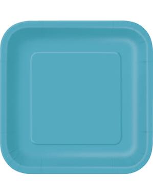 16 vierkante aqua blauwe dessertborde (18 cm) - Basis Kleuren Lijn