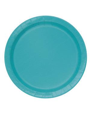 Комплект от 8 аквамаринови зелени десертни плочи - Line Basic Colors
