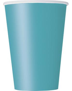 Zestaw 10 dużych kubków w kolorze akwamaryny - Linia kolorów podstawowych