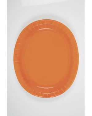 Oranges Teller Set oval 8-teilig - Basic-Farben Kollektion