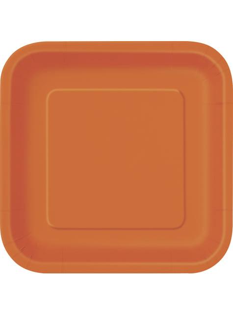 16 platos cuadrados pequeños naranjas (18 cm) - Línea Colores Básicos